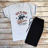 Продается ТОЛЬКО мужская футболка  Wildland с принтом медведя в сером цвете