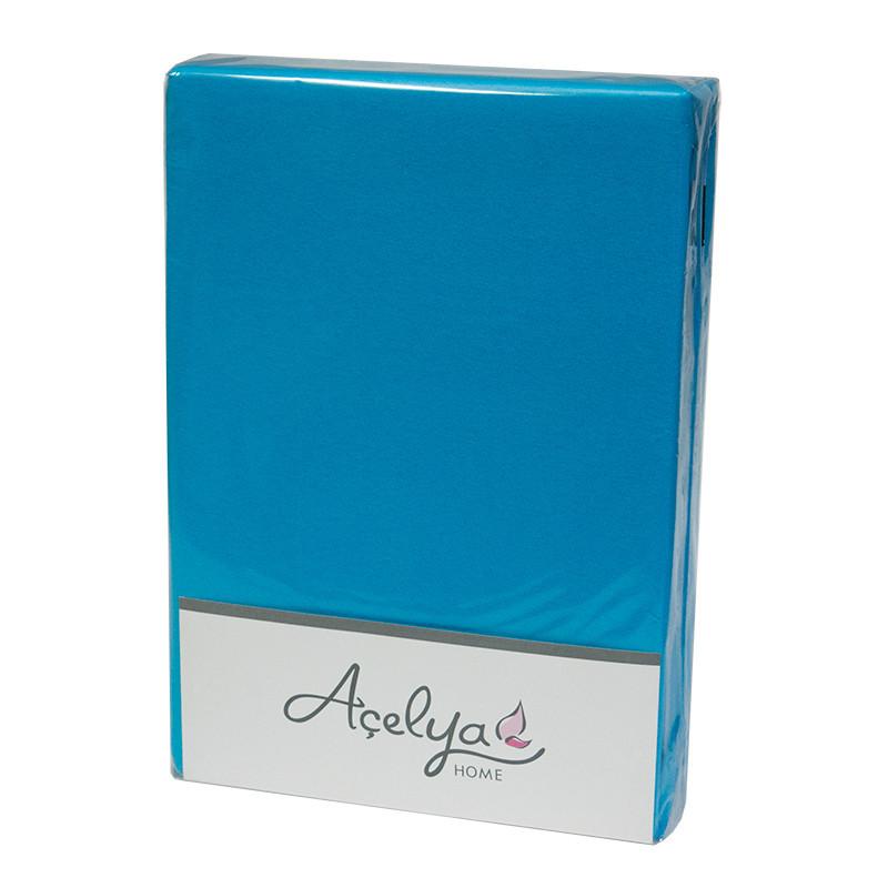 Простынь на резинке Acelya Трикотажная 160х200 + 2 наволочки 50х70 Бирюзовая