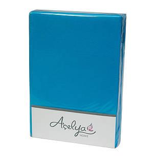 Простынь на резинке Acelya Трикотажная 160х200 + 2 наволочки 50х70 Бирюзовая, фото 2
