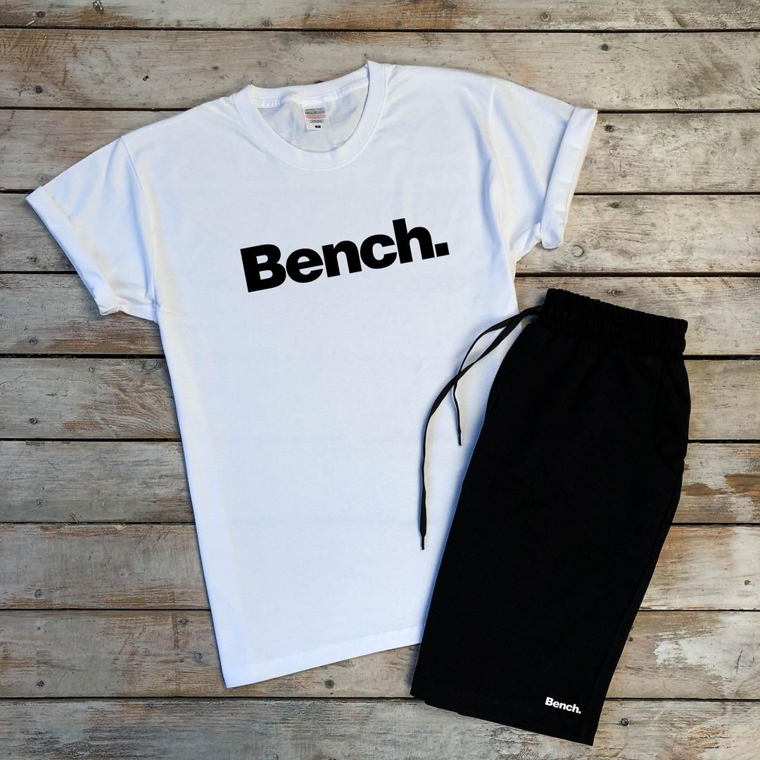Футболка мужская хлопковая с надписью Bench в белом цвете