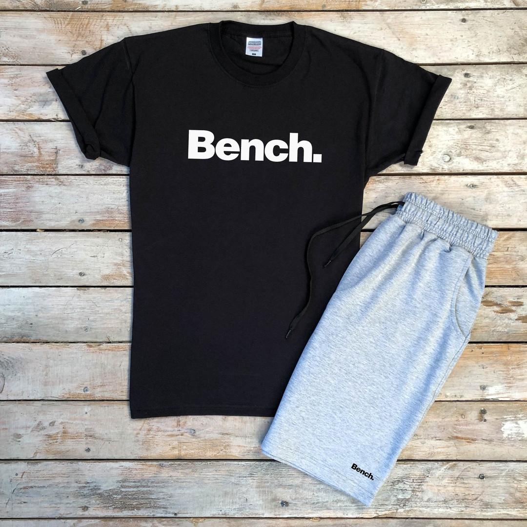Футболка мужская лето из хлопка с надписью Bench в черном цвете