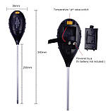 Анализатор почвы АМТ-300 4 в 1 рн метр влагомер термометр люксметр для почвы электронный цифровой, фото 4