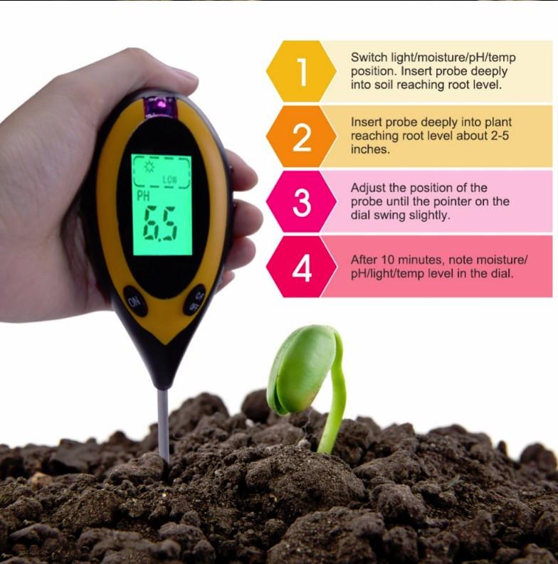 Анализатор почвы АМТ-300 4 в 1 рн метр влагомер термометр люксметр для почвы электронный цифровой