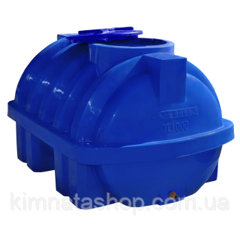 Емкость для воды на 1500 л пластиковая двухслойная синяя усиленная ребром (180*123*106см)