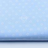 """Лоскут ткани """"Французские звёзды"""" белые на голубом №1848а, размер 25*80 см, фото 2"""