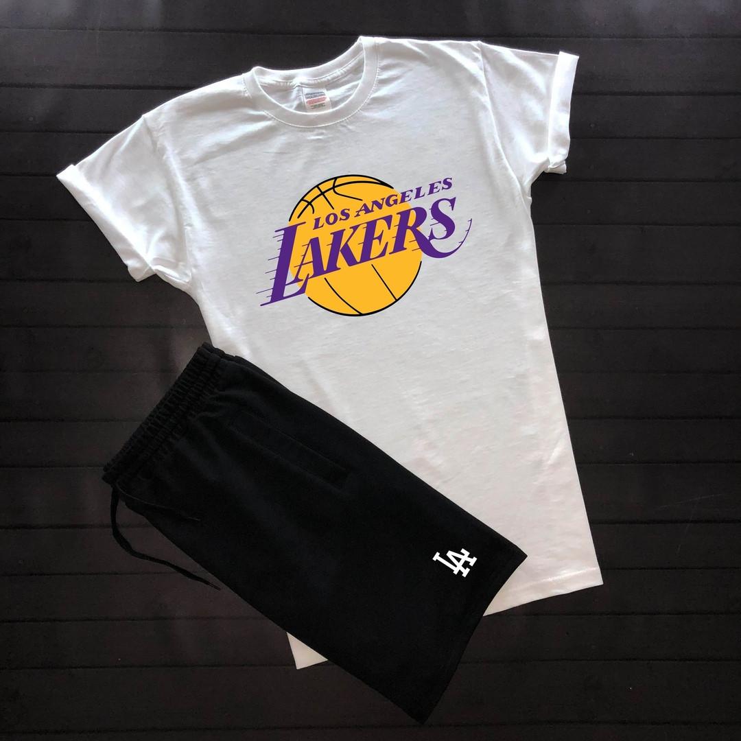 Хлопковая мужская футболка Los Angeles LAKERS молодежная с короткими рукавами (белая)