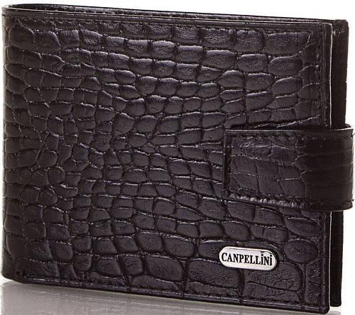 Мужское стильное кожаное портмоне CANPELLINI (КАНПЕЛЛИНИ) SHI1408 черный