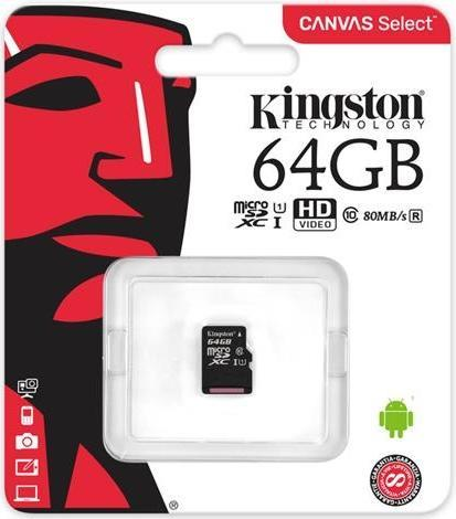 Карта пам'яті micro Kingston 64Gb C10 UHS-I R80MB/s (SDCS/64GBSP)