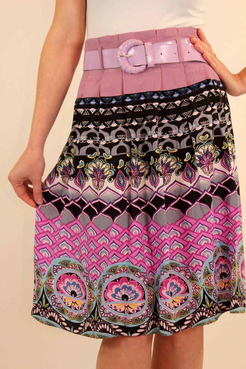 Летняя юбка из штапеля 42 р ( персик, сиреневый )