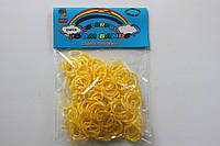 200 штук желто-белых (зебра) резиночек для плетения Loom Bands