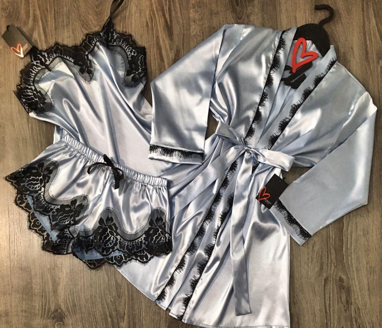 Набор халат+майка+шорты с кружевом, красивая одежда для дома..