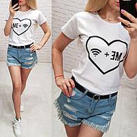 Женская футболка летняя качество Me + Wifi турция 100% катон цвет белый, фото 1