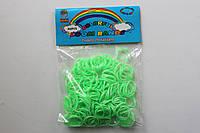 200 штук зелено-белых (зебра) резиночек для плетения Loom Bands
