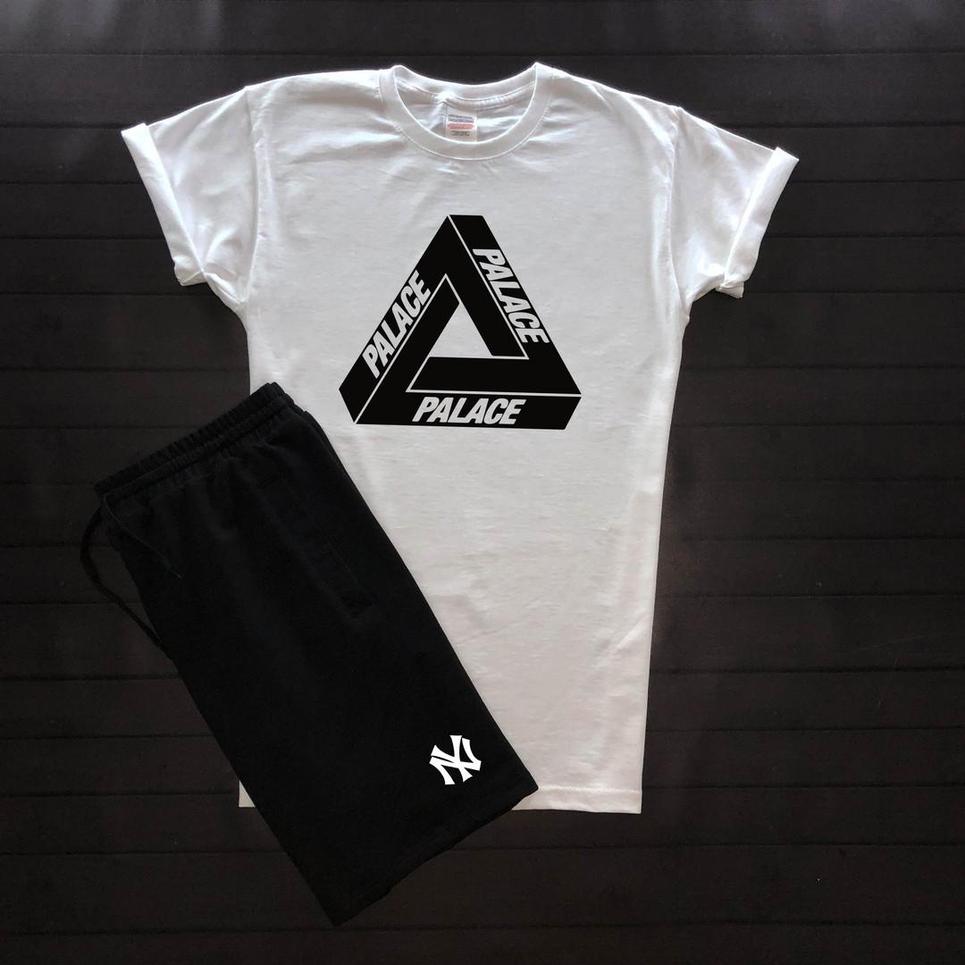 Мужская футболка на лето из хлопка с принтом Palace и короткими рукавами (белая)