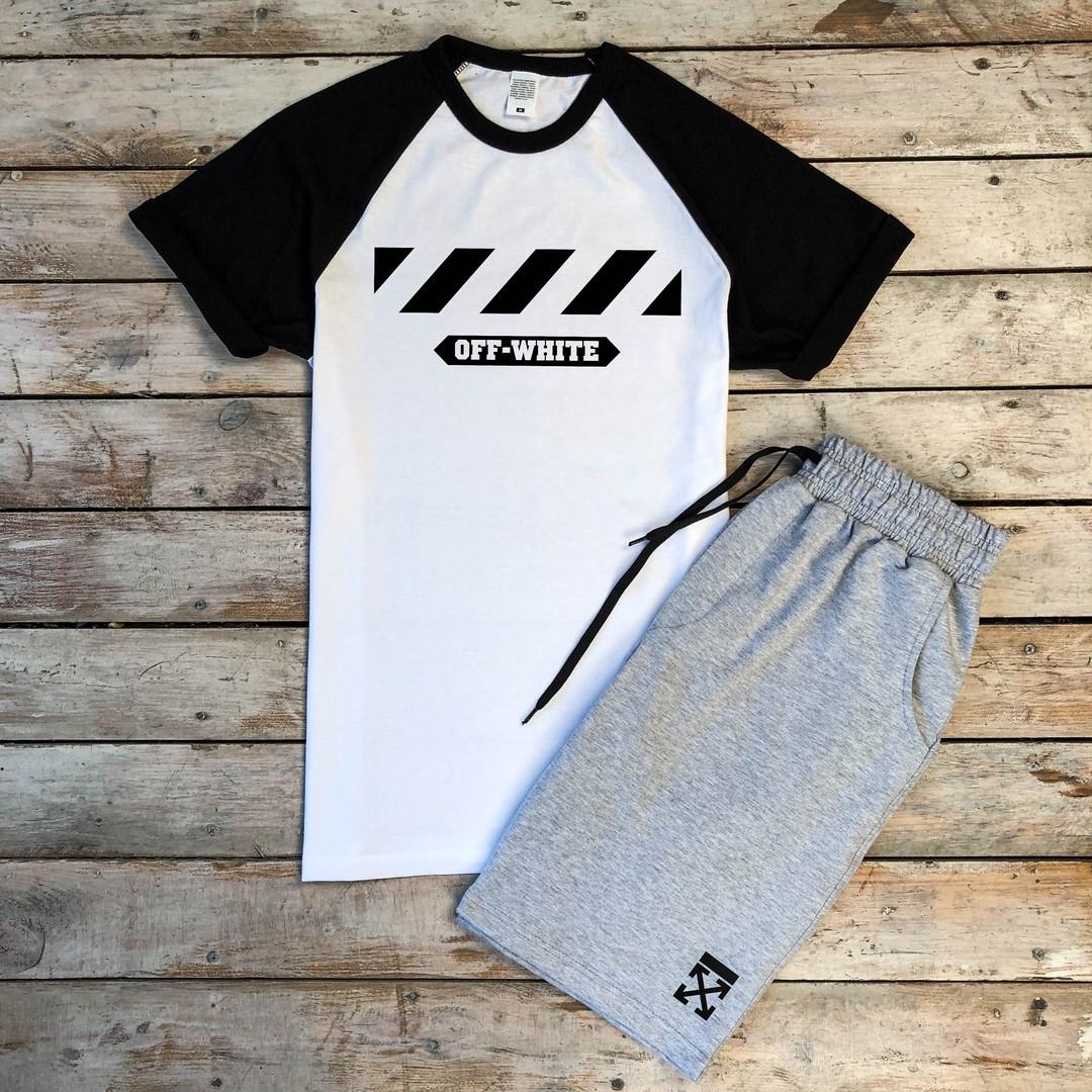 Продается ТОЛЬКО футболка мужская Off-White летняя хлопковая с принтом (черная с белым), ТОП-реплика