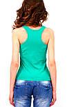 Майка борцовка жіноча трикотажна бавовняна стрейчева, зелена, фото 2