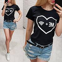 Женская футболка летняя качество Me + Wifi турция 100% катон цвет черный, фото 1