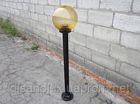 """Светильник парковый  """"Столб"""" NF1,50м с  основанием  для столба и шар NF1807 φ250мм золото призматик  IP44, фото 3"""