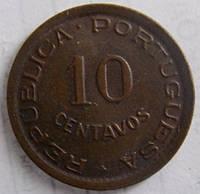 Монета Анголы 10 сентаво 1949 г.