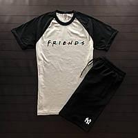 Продается ТОЛЬКОмужская футболка хлопковая с надписью Friends белая с черными короткими рукавами, ТОП-реплика