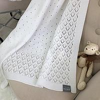 Хлопковый вязаный плед Ажур (белый, молочный) летний