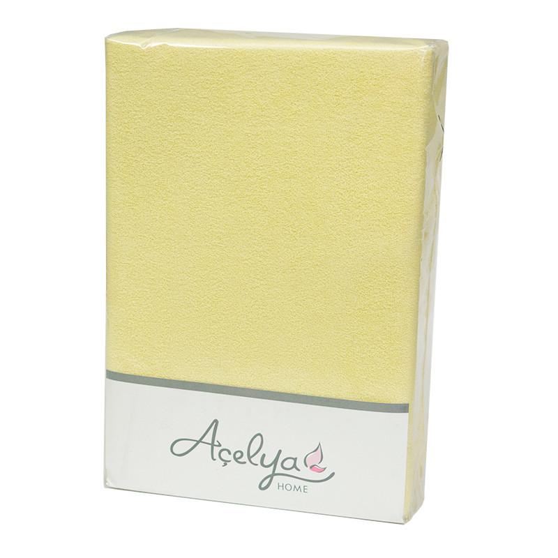 Простынь на резинке Acelya Махровая 160х200 + 2 наволочки 50х70 Желтая