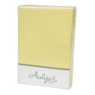 Простынь на резинке Acelya Махровая 160х200 + 2 наволочки 50х70 Желтая, фото 2