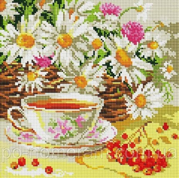 Картина из страз Алмазна мозаїка Ромашковый чай (DDF001) 30 х 30 см (Без подрамника)