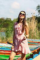 Платье женское на запах с рюшами , размер 42-46 , цвет пудра и голубой