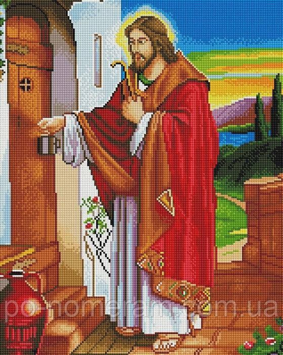 Вышивание камнями Алмазна мозаїка Иисус стучит в двери (GF2024) 40 х 50 см (Без подрамника)