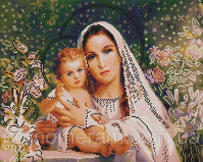 Картина из мозаики Алмазна мозаїка Мадонна с младенцем (DGF021) 40 х 50 см (Без подрамника)