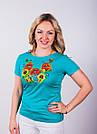 """Вышитая женская футболка """"Букет полевых цветов"""""""