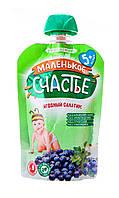 """Пюре Фруктовое, Ягодный салатик, 90г (Пауч), с 5 мес., ТМ """"Маленькое счастье"""""""