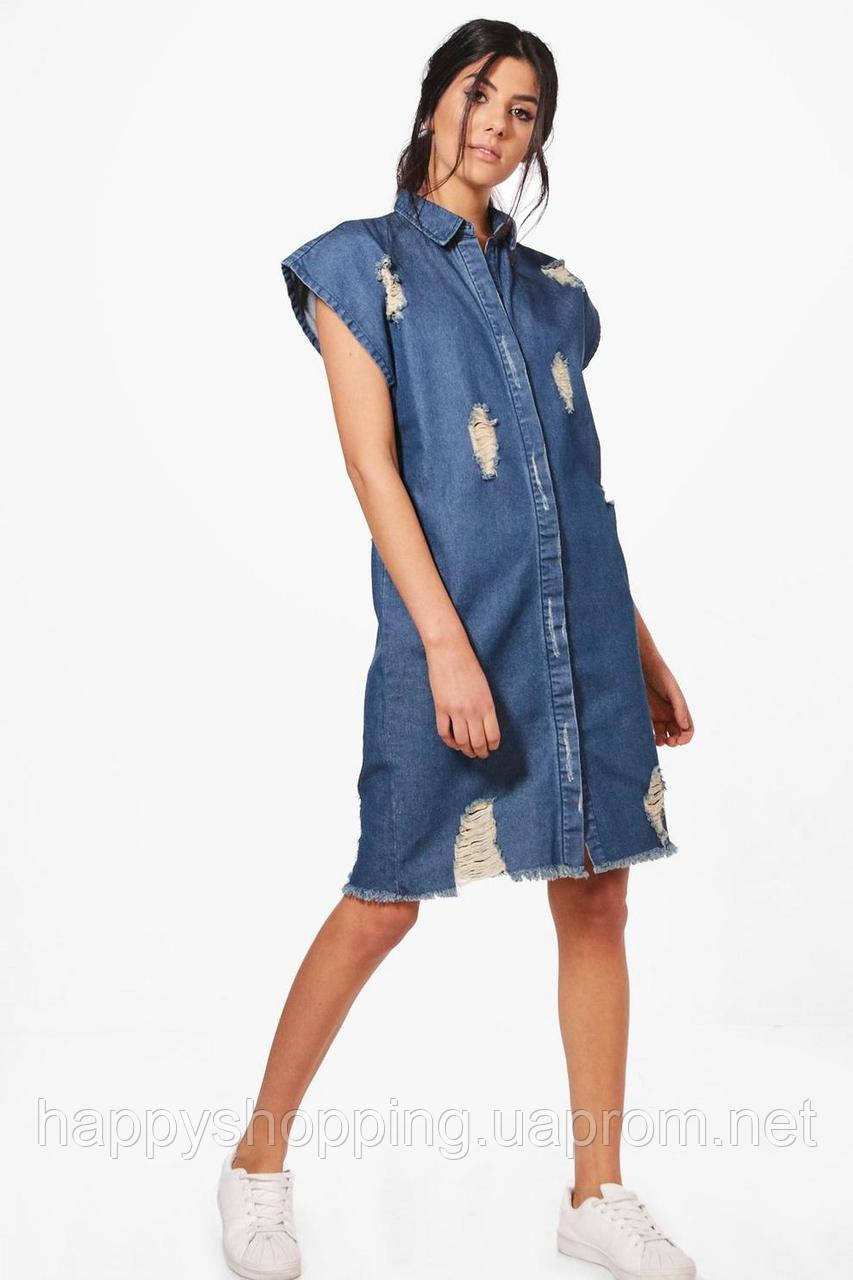 Женское стильное джинсовое рваное платье BooHoo
