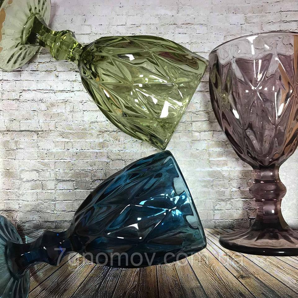 Набор 6 бокалов из цветного стекла Изольда 200 мл
