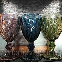 Набор 6 бокалов из цветного стекла Изольда 200 мл, фото 2