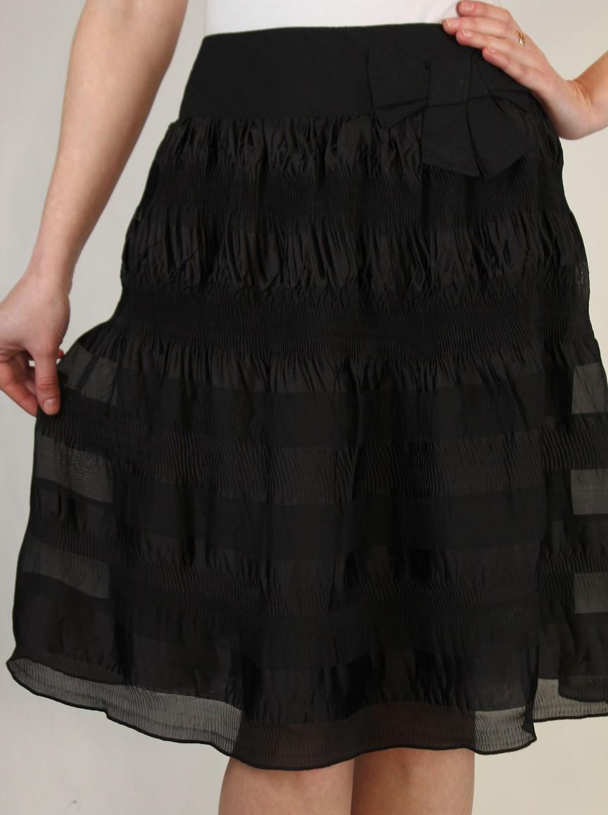 Черная шифоновая юбка 42-48 р