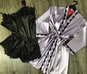 Атласний комплект халат майка шорти, жіноча піжама з мереживом