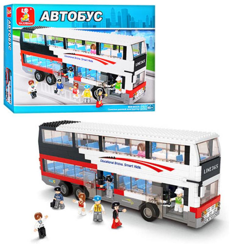 """Конструктор """"SLUBAN"""", """"Двухэтажный автобус"""", фигурки, 741 деталь, M38-B0335"""