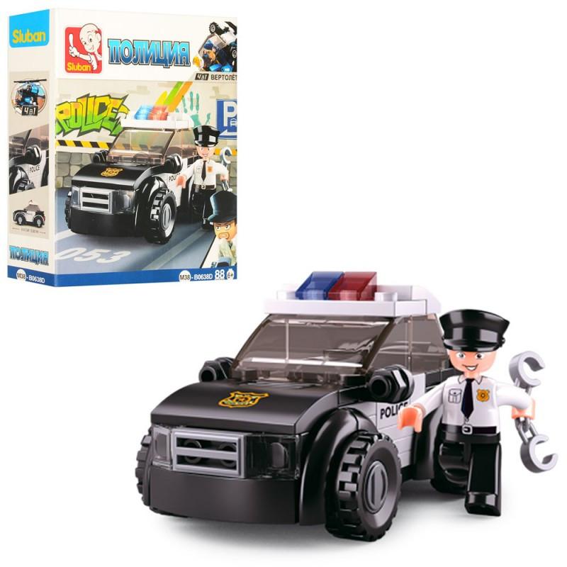 "Конструктор ""SLUBAN"", ""Полиция"", машина, фигурки, 88 деталей, M38-B0638D"