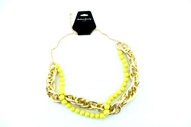 Колье-цепь с желтыми бусами