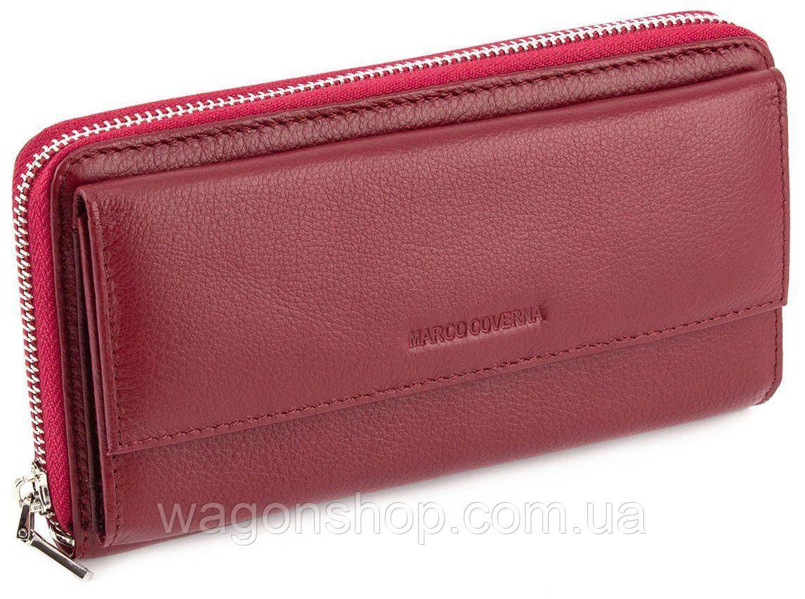 Бордовый кожаный кошелек на молнии с блоком для карт Marco Coverna