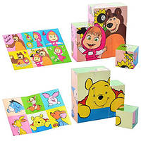 Кубики деревянные Маша и Медведь, Винни Пух