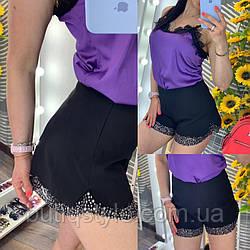 Женские гламурные шорты из коттона с декором из страз