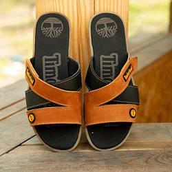 Мужские кожаные шлепанцы Timberland песочного цвета