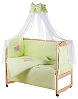 Детская постель Qvatro Gold AG-08 апликация салатовый (мишка сидит с коричневым сердцем) Код товара: 60324, фото 1