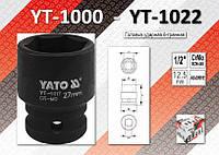 "Торцевая головка ударная 6-гранная 1/2"", 19мм, YATO YT-1009"