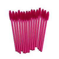 Щеточки для расчесывания ресниц малиновые с малиновой ручкой, 50 шт. в упаковке