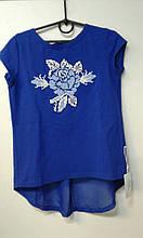 """Вишиванка-футболка дівч. Діброва FGd-853-071-Tr, """"Посмішка троянди"""" 116 синій"""