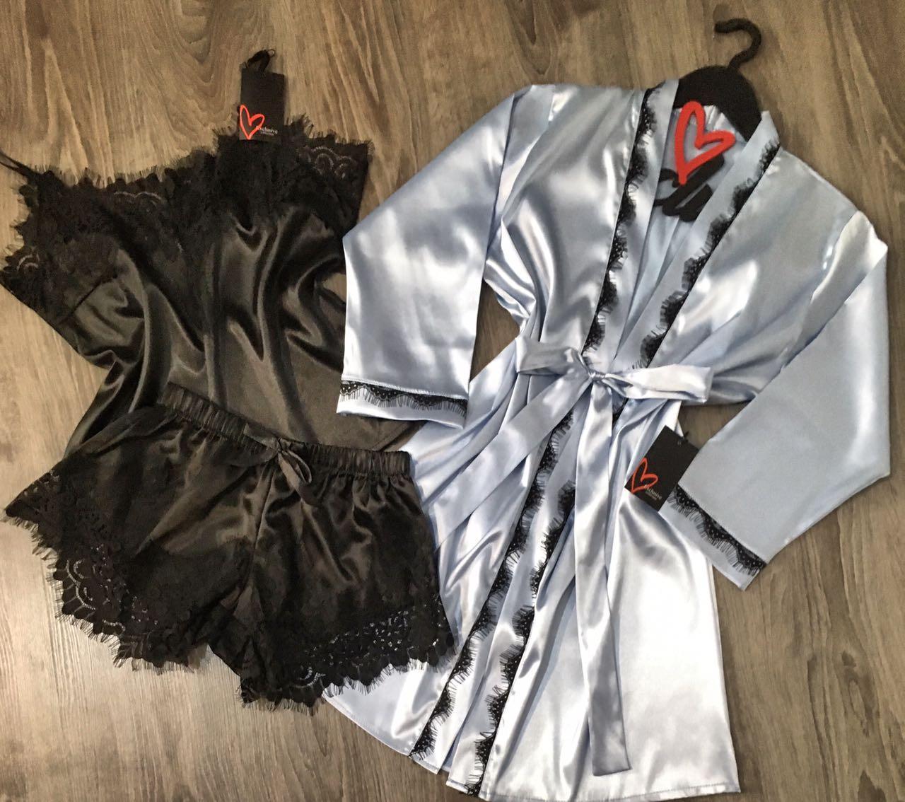 Модная атласная пижамка с коротким халатом